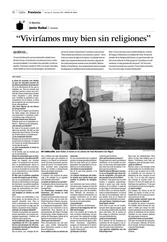 Entrevista en Diario de Cádiz. Nociembre de 2002